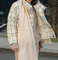 Autumn Winter White Elegant Short Plaid Women Jacket,NEW,on Sale!