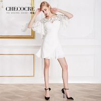 Vogue Split Front Pleated Slimming Flare Sleeves Chiffon Lace Formal Wear Dress - Bonny YZOZO Boutique Store