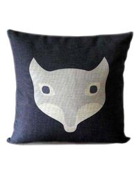 Black blue linen pillow with animal design fox decorative throw pillow cover animal pillow case for kids   See more about linen pillows, animal design and animal pillows.