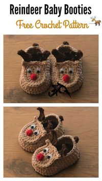 This Reindeer Baby Booties Free Crochet Pattern will make such a cute gift for a baby's first Christmas! They are very comfortable to wear.