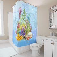 Tropical Sea Life Blue Shower Curtain