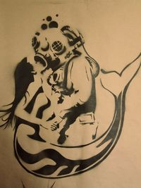 Tattoo inspiration... Mermaid and Deep Sea Diver Stencil by Grey Jay