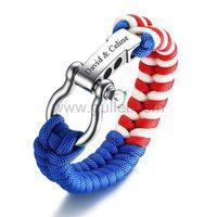 Gullei.com Engraved Paracord Survival Bracelet for Men Stainless Steel