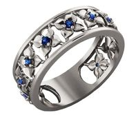 11th Anniversary Blue Flower White Gold Eternity Wedding band Ring Leaves ring Filigree band Friendship Blue Floral Jewelry $642.00