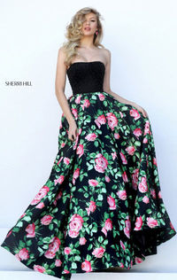Cheap 2016 Unique Sherri Hill 50354 Floral Black/Pink Straight Fascinate Long Beading Evening