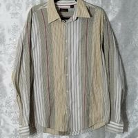 Contigo Shirt XL Multicolor Striped Button Down Long Sleeves Casual Dress Shirt $13.34