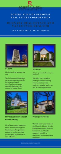 Burnaby Realtor and Burnaby Real Estate .png  At Robert Almeida Personal Real Estate Corporation, We are providing reliable and efficient Real estate services which includes buying, selling, market trends, renovation ideas, decor celebrity with your des...