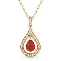 Red Agate & Diamond Pave Tear-Drop Pendant & Chain Necklace in 14k Rose Gold - AM-DN4352