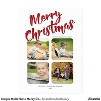 Simple Multi Photo Merry Christmas Postcard