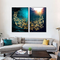 Set of 2 wall art Gold fishes ocean Sea Navy blue abstract acrylic paintings on canvas original ymipainting wall art sunshine painting $176.50