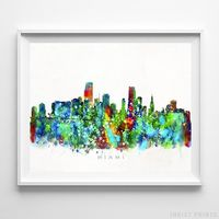 Miami, Florida Skyline Watercolor Print by Inkist Prints - Available at https://www.inkistprints.com