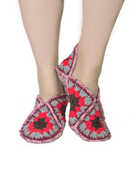 Women house slippers as knit Christmas gift for mom, boho clothes. Slippers size 8 9 10.5 $35.00