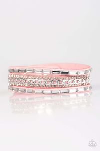 Paparazzi Girl Hustle - Round and Emerald Rhinestone Silver Chain Pink Suede Bracelet $5.00