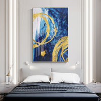 Gold Leaf sea wave Acrylic Abstract Paintings On Canvas blue original extra Large painting wall pictures framed wall art cuadros abstractos $116.47