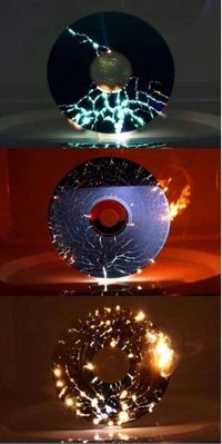 A CD in a microwave. Not sure the microwave would survive but very cool.