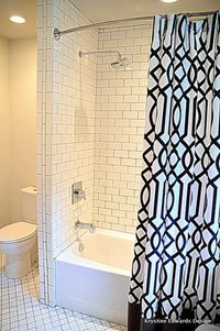 This bathroom renovation features Jeffrey Court Concord Dawn subway tile in the shower and Mercola Arabesque tile on the floor. Click through to see before and after photos on Living Pretty Styled. ||