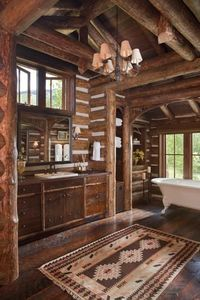 log house bathroom...love it! ~ I want the whole inside of my house to look like this!!