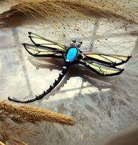 Stain Glass Brooch, vintage brooch, dragonfly brooch, Stain Glass dragonfly , Animal broche, Insect Brooch, Druid jewelry $41.00