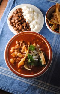 pozole de frijol; this sounds delicious. If only my family would eat it without chicken, pork or beef! via