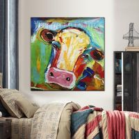 Cow Painting On Canvas Cow canvas art Farm animal paintings Original oil painting Cows impasto heavy texture palette knife Wall pictures $69.00