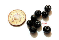 Pack of 100 Round Wooden Speckled Beads. 8mm Black and Silver Painted Natural Wood Beads. £6.99