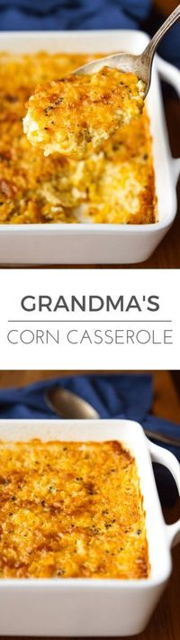 Corn Casserole Recipe -- this creamed corn casserole recipe is SO good you'll want to scrape the dish completely clean to get every last bit of caramelized goodness from the corners! It's on the menu for every family gathering I host�€� | ...