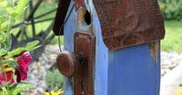 Birdhouse Blues....love the color and use of the old doorknob for the perch!