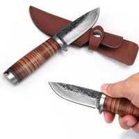 Hand forged Hunting Knife Fixed Blade Tactical Knife BBQ Tools Leather Sheath $57.00