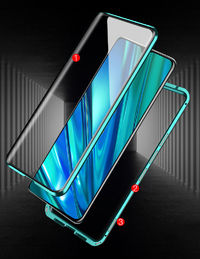 Bakeey 360º Curved Magnetic Flip Double-sided 9H Tempered Glass Metal Full Body Protective Case for Realme 5i