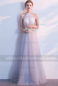 2018 Halter Neck Lace Long Silver Gray Prom Dresses