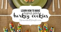 How adorable are these hand print turkey cookies?! Step-by-step tutorial found at Somewhat Simple!