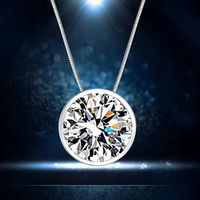 Without Chain!!Hot Clavicle Decorative Round Single Rhinestone Silver Plated Pendant Fashion Jewelry Lovers Couple Gift $80.55