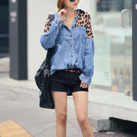 BATWING LEOPARD PRINT LOOSE FIT BUTTON DOWN DENIM SHIRT BLOUSE Price:$34.99 Material: Cotton / Acrylic  Color: Grey / Yellow