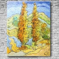 Two Poplars On A Hill By Vincent van Gogh Handmade Reproduction