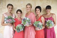 Different shades of the same color bridesmaid dresses. love.