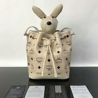 MCM Small Rabbit Heritage Visetos Drawstring Bag In Beige