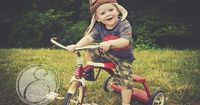 Tricycle 2 year old boy birthday photo radio flyer pilot hat