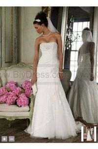 Strapless Lace A-line Gown with Side Split Style YP3344