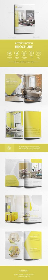 Interior Design Brochure A4 Design Template - Corporate Brochures Template PSD. Download here: https://graphicriver.net/item/interior-design-brochure-a4/17709875?ref=yinkira