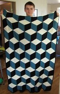 Isometric throw, free pattern by Solveig Grimstad. This uses DC for the diamond motifs, rather than the SC in the 'Vasarely' throw pattern . . . . �ƒ�Trish W ~ http://www.pinterest.com/trishw/ . . . . #crochet #afghan #blanket