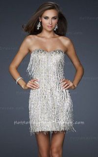 Cheap Gray Strapless Tassels Homecoming Dress on Sale