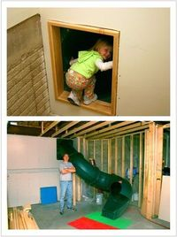 Secret slide to the basement - COOLEST THING EVER!