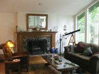 Craftsman living room and river rock fireplace
