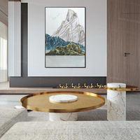 Abstract mountain Painting acrylic Gold art blue painting Landscape paintings on canvas framed Wall art original painting wall pictures $123.75