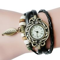 Women Children Retro LeatherWinding Bracelet Leaf Pendant Watch $4.28