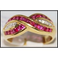18K Yellow Gold Unique Cross Ruby and Diamond Ring [R0078]
