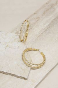 Two Lane Crystal Hoop Earrings �'�40.99