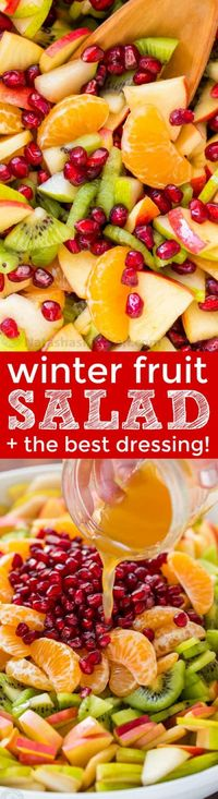 Winter fruit salad is refreshing and loaded with the best fruits of winter. The lemon-lime-honey syrup is lip-smacking good! You'll be running for refills!   natashaskitchen.com #fruitsalad #winterfruitsalad #autumnfruitsalad