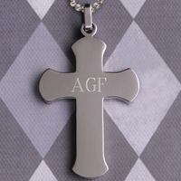 A lovely gift of faith for recipients of any age, this Personalized Rounded Edge Cross Pendant is made of a durable stainless steel, no-tarnish material. Suitable for guys or gals, it makes a bold statement and is great for daily wear or for a special occ...