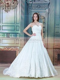 SWEETHEART PLEATED TAFFETA WEDDING DRESS WITH BEADED APPLIQUES